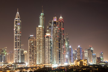 Dubai Marina skyscrapers at night. Dubai, UAE