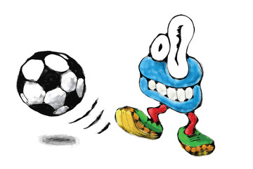 Funny soccer player as cartoon monster