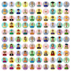 Flat People Icons, Different Occupation: Doctor, Police, Artist, Firefighter, Surgeon, Clown, Judge, Astronaut, Waiter, Barman, Sailor, Hipster - On Background - Vector Illustration, Graphic Design