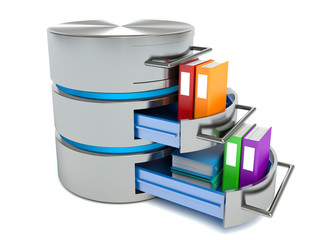 Database storage concept. Hard disk icon with folders