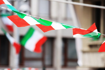Italian flags on the wind
