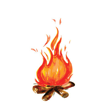 fire painted in watercolor style