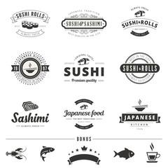 Sushi Rolls Sashimi Vintage Labels Hipster Logo design