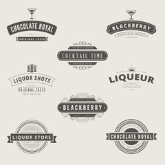 Liquore Retro Vintage Labels Hipster Logo design vector