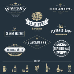 Alcohol Retro Vintage Labels Hipster Logo design vector