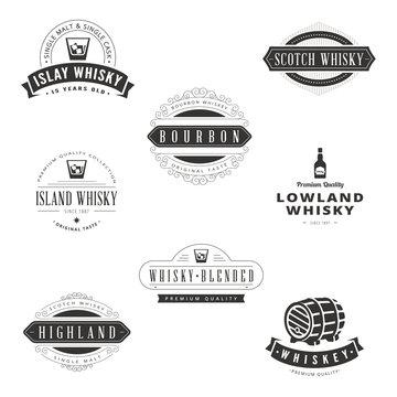 Whisky Retro Vintage Labels Hipster Logo design vector