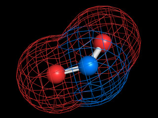 Nitrogen dioxide (NO2) air pollution molecule.