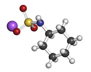 Sodium cyclamate artificial sweetener molecule.