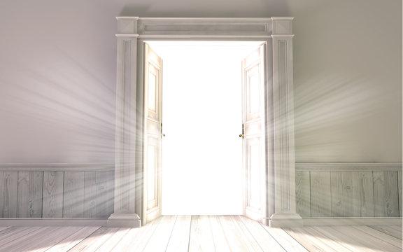 3d rendering the empty room with opened door