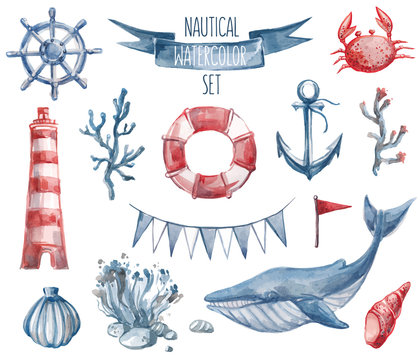 Nautical watercolor set