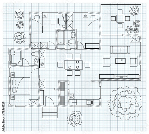 """Black And White Floor Plan Of A House On Millimeter Paper"