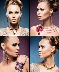 Beautiful woman in a precious necklaces, earrings and a bracelet