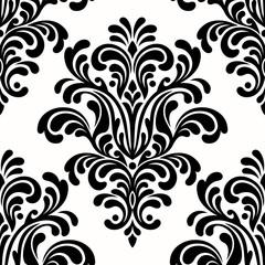 seamless damask pattern on white background
