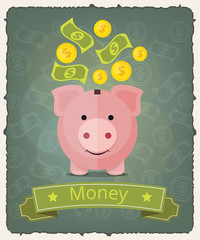 Vector piggy bank banner illustration