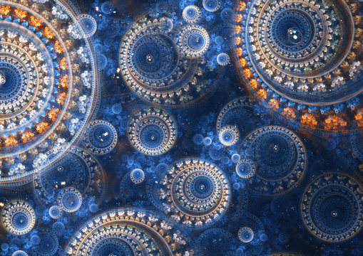 Blue and orange abstract circle fractal background