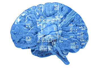Informational concept: circuit board in form of human brain