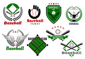 Creative baseball sports emblems and symbols