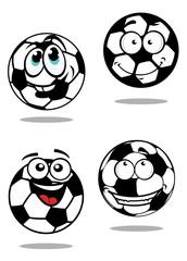 Cartoon soccer balls characters