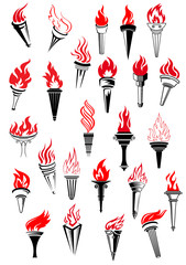 Flaming torches in vintage style