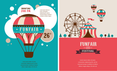 vintage poster with carnival, fun fair, circus vector background