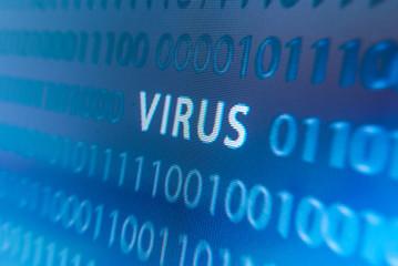Virus inscription on monitor