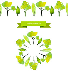 Illustrated spring tree brush. Green watercolor trees