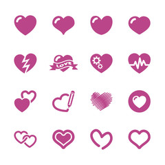 heart and valentine day icon set, vector eps10