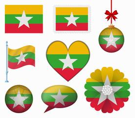 Burma flag set of 8 items vector