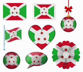 Burundi flag set of 8 items vector