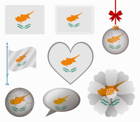 Cyprus flag set of 8 items vector