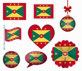 Grenada flag set of 8 items vector