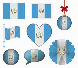 Guatemala flag set of 8 items vector