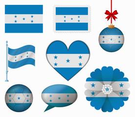 Honduras flag set of 8 items vector