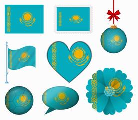 Kazakhstan flag set of 8 items vector