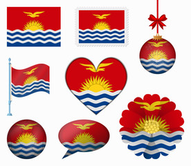 Kiribati flag set of 8 items vector