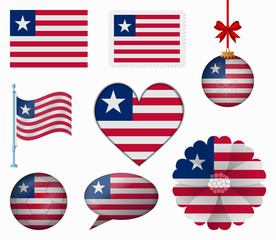Liberia flag set of 8 items vector