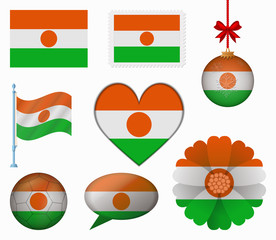 Niger flag set of 8 items vector