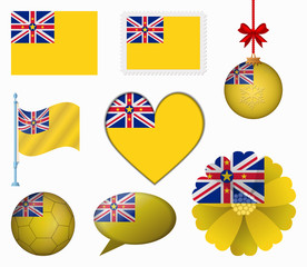 Niue flag set of 8 items vector