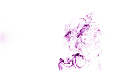 purple smoke isolated on white background