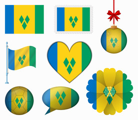 Saint Vincent and the Grenadines flag set of 8 items vector