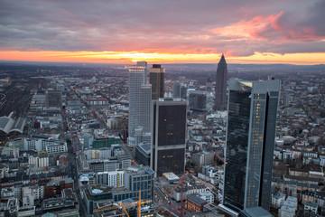 frankfurt am main germany cityscape sundown