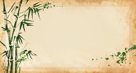 bamboo painted on textural grunge  horizontal background. Vector