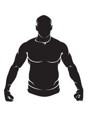 Bodybuilder. Vector silhouette isolated on white