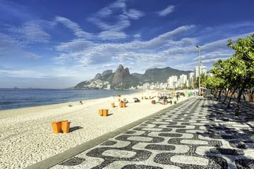 Morning on Ipanema Beach with mosaic walkway in Rio de Janeiro