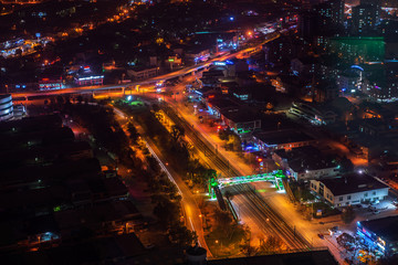 The night view of the city high