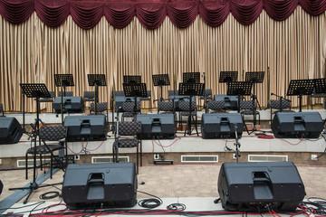 musicians and concert hall equipment, auditorium