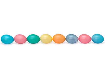 eight happy easter eggs pastel colored isolated on white
