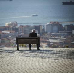 Man on Bench in Izmir Turkey