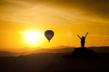 Balloon in Cappadocia at dawn sky background
