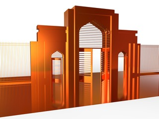 Gate Of Mosque Isolated From The Background